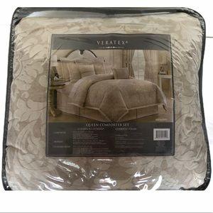 Gold/Tan Patterned Veratex Queen Comforter Set